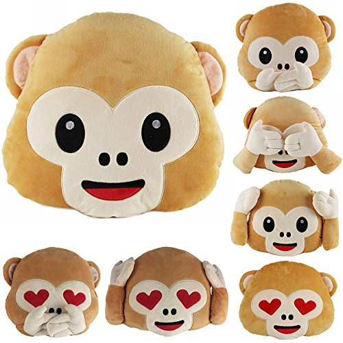 40cm Lovely Emoji Monkey Throw Pillow Plush Stuffed Cushion Office Home Sofa Decoration Gift(Random: Style)