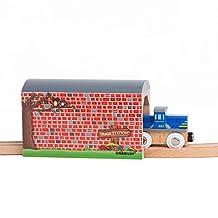 Orbrium Toys Large Wooden Train Tunnel for Wooden Railway Fits Thomas Brio Chuggington Melissa Doug Imaginarium
