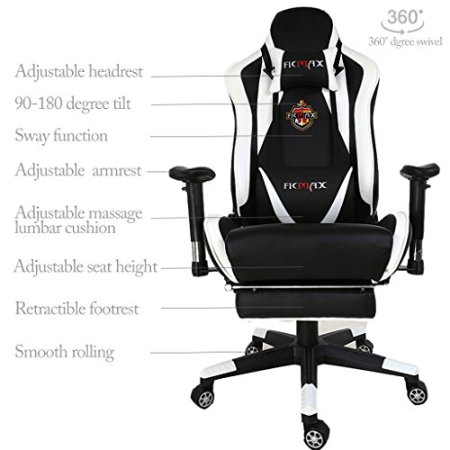 Ficmax Large Size High Back Ergonomic Gaming Chair Racing