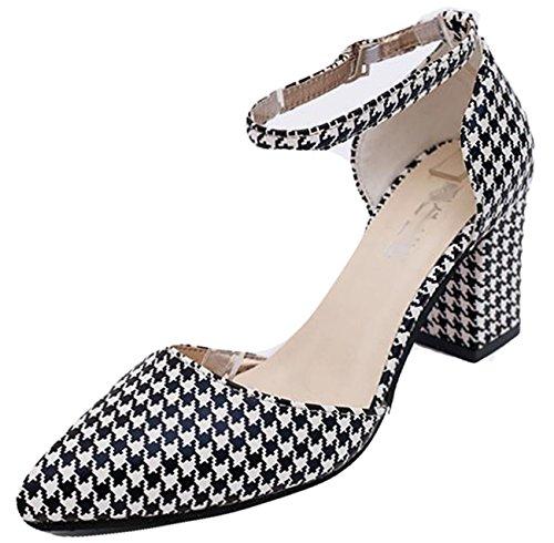 Einfarbig Damen 2018 bißchen Ein Karo Schuhe Knöchelriemchen Schnappverbindung Elegant mit xTSEqw