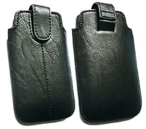 Emartbuy ® Value Pack Para Nokia E63 Slide Negro Cuero De La Pu Asegurado En + Funda / Caja / Manga / Soporte (Tamaño X-Large) Con El Mecanismo De Lengüeta + Cargador De Coche Compatible Con Protector De Pantalla De Cristal Líquido