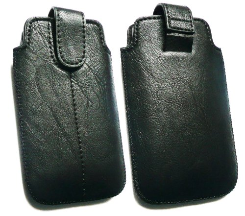 Emartbuy ® Apple IPhone 4G 4GS 4S schwarz PU-Leder Secured Slide in Pouch / Case / Sleeve / Holder (Größe X-Large) mit Zug-Vorsprung Mechanismus und LCD Displayschutz