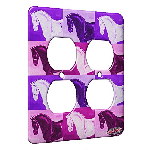 (2 Gang AC Outlet Wall Plate - Black Percheron Draft Horse Pink Pattern Art by Denise Every)
