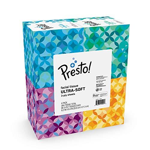 🥇 Amazon Brand – Presto! Ultra 3-Ply Facial Tissue 66CT 4 Pack