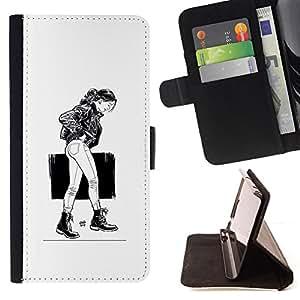 KingStore / Leather Etui en cuir / Apple Iphone 5C / Chica Emo Sexy