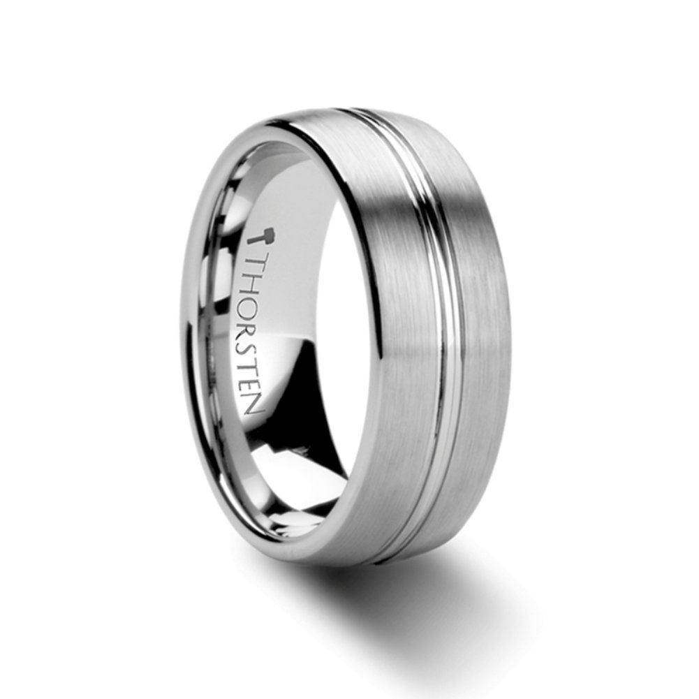 Tungsten Carbide Rounded Brushed Finish Center Groove Wedding Ring 8mm Band