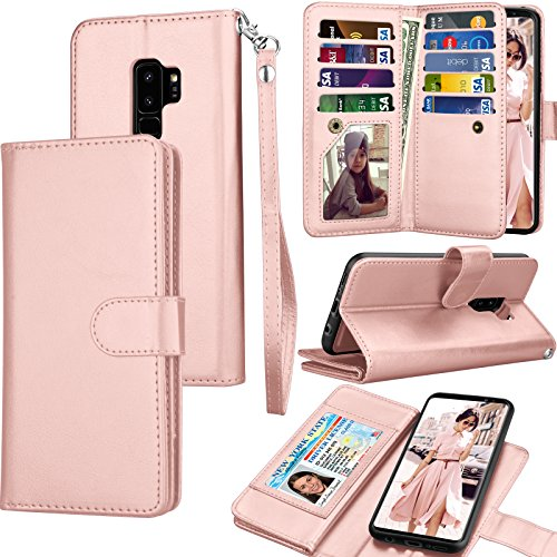Galaxy S9 Plus Case, S9 Plus Wallet Case, Samsung Galaxy S9+ PU Leather Case, Tekcoo Luxury Cash Credit Card Slots Holder Carrying Folio Flip Cover [Detachable Magnetic Case] & Kickstand - Rose Gold