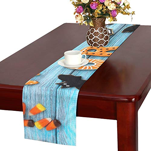 WUTMVING Fresh Halloween Gingerbread Cookies On Blue Table Runner, Kitchen Dining Table Runner 16 X 72 Inch for Dinner Parties, Events, Decor -