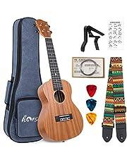 Soprano/Concert/Tenor Ukulele 21/23/26 Inch Ukelele Mahogany Ukele for Beginer with Uke Gig Bag Strap String Capo Picks…
