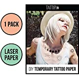 Tattify DIY Temporary Tattoo Paper 1 Pack For Laser Printers, Printable Long Lasting Custom Tattoos At Home, Sticker Transfer Sheets With Clear Instructions, Waterproof And Sweat Resistant