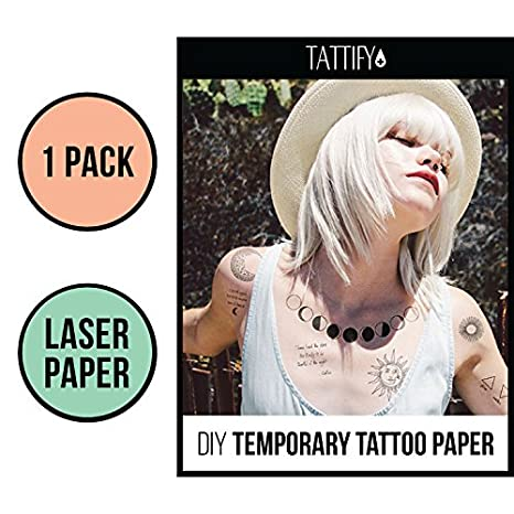 Amazon.com : Tattify DIY Temporary Tattoo Paper 1 Sheet Pack ...