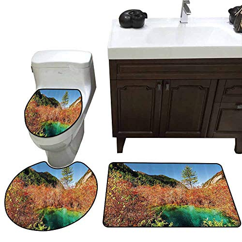 3 Piece Extended Bath mat Set Nature Decor Idyllic Fall Landscape with a Creek Among Forest in National Park Valley Art Customized Rug Set Green Amber