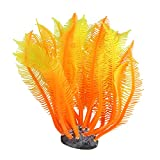 uxcell Orange Yellow Artificial Silicone Manmade Coral Shape Fish Tank Ornament