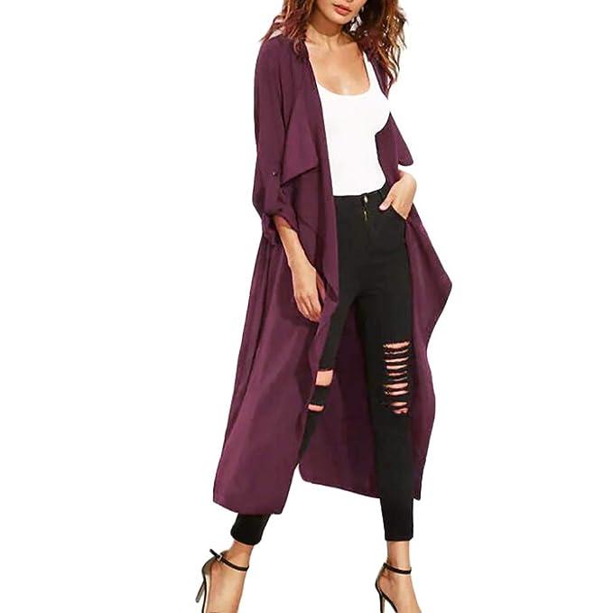 Linlink de las Mujeres Abrigos drapeados sólido Cubrir Frente Abierto Irregular frenillo Cortavientos Tapas Delgadas Abrigo