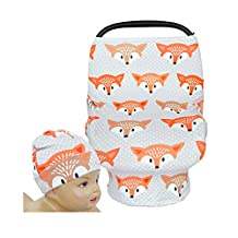 SHELLBOBO Multi-use Baby Car Seat Cover Floral Stretchy Canopy Nursing cover Fox (orange)
