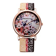 Women Canvas Watch Printed Flower Causal Quartz Wrist Watches Hot Beige With Big Face And Roman Numerals