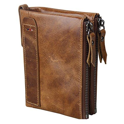 Big Bill Bi Fold Wallet (iSuperb RFID Blocking Crazy Horse Genuine Leather Wallet Double Zipper Business Billfold Wallet with ID Window for Men Women 3.7x4.8x1.1inch (Brown))