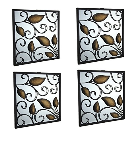 Metal & Glass Wall Mounted Mirrors Set Of 4 Rustic Leafy Scroll Rustic Square Accent Mirrors 9 X 9 X 0.25 Inches Black (Metal Mirrors Decorative Framed)