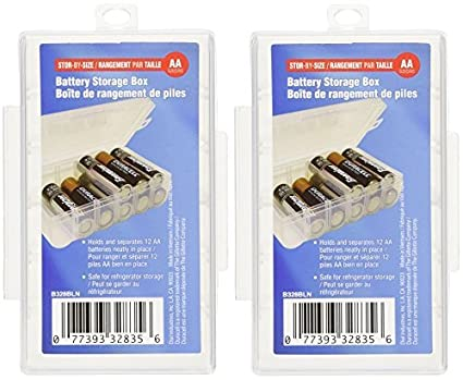 Dial AA Battery Storage Box, 2 Pack