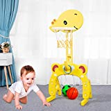 Basketball Hoop Set, 3 in 1 Sports Activity Center Grow-to-Pro Adjustable Easy Score Basketball Hoop, Football / Soccer Goal, Ring Toss Cute Giraffe Best Gift for Baby Infant Toddler (Yellow-01)