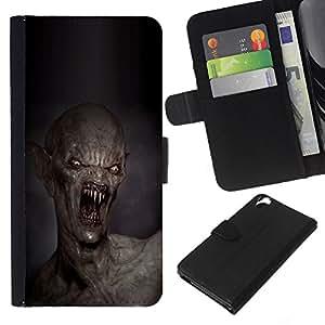 KingStore / Leather Etui en cuir / HTC Desire 820 / Dientes Kill Monstruo Muerte Creepy;