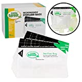 Microwave Sterilizer Bags (12pk) - Reusable Sanitizer Bags for Bottles and Pump Parts - Use Each Up To 20x