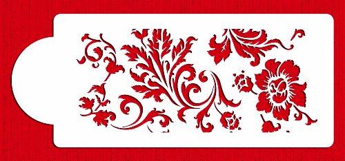 Designer Stencils C345 Chic Rose Border Cake Stencil, Beige/Semi-Transparent