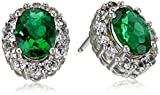 Sterling Silver, Cushion-Cut Created Emerald, and Created White Sapphire Stud Earrings