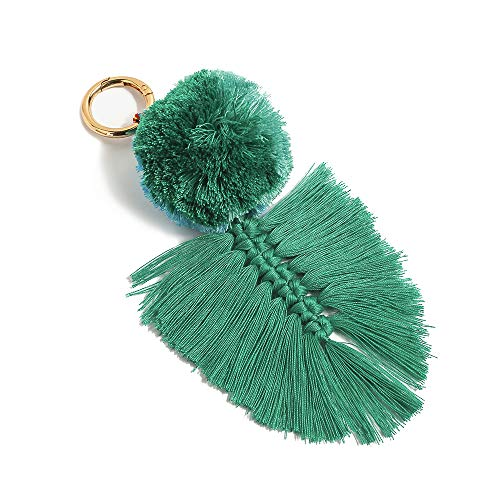 Colorful Boho Pom Pom Tassel Bag Charm Key Chain (U05 - Chain Beaded Key