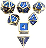 MicoYuan DND Polyhedral Metal Game Dice Gold Blue 7pc Set for Dungeons and Dragons RPG MTG Table Games D4 D6 D8 D10 D12 D20