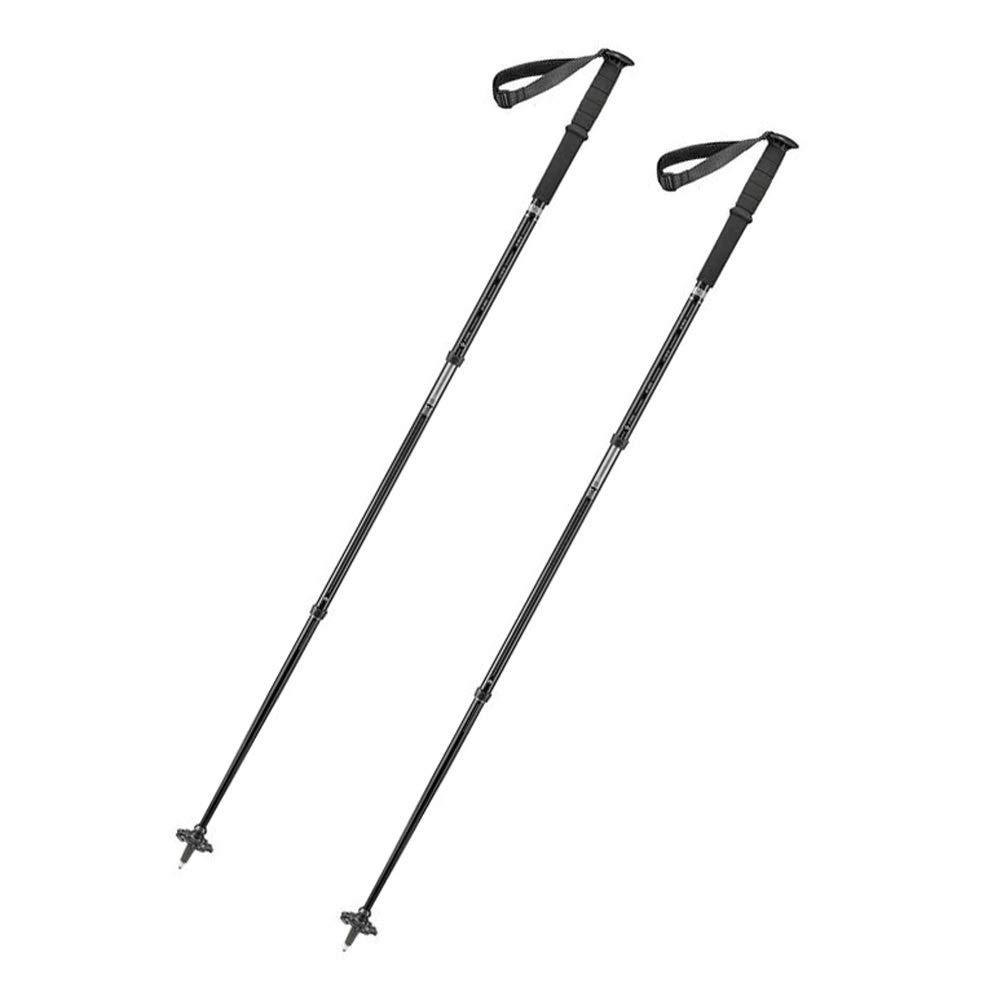 Black a pair Outdoor Trekking Pole, Carbon Fiber Outdoor Hiking Pole Retractable Ultralight Crutches Straight Shank Walking Sticks Black orange