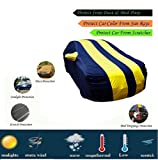 MotRoX Sporty Yellow Stripe Car Body Cover for Mahindra XUV 500 (Water Resistant and Triple Stiched-GN)