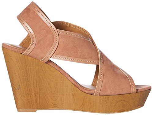 Qupid Women's Wedge Sandal Dark Blush n0X3gq
