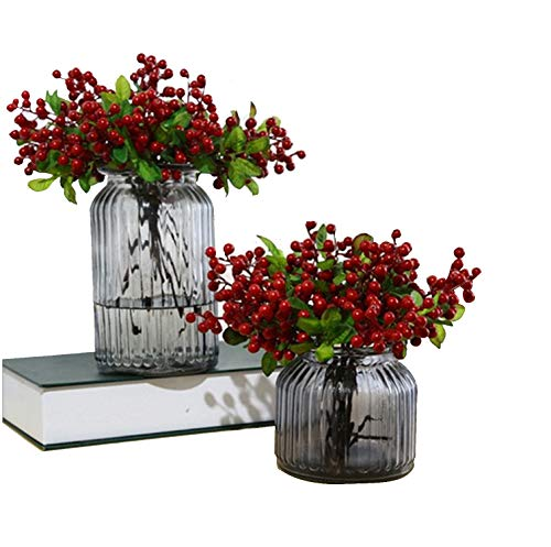 Felice Arts Pack of 6 Rich Red Artificial Berry Stems Holly Christmas Berries for Festival Holiday and Home Decor ()