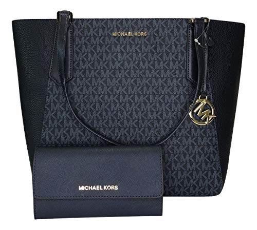 MICHAEL Michael Kors Kimberly Large Bonded Tote bundled with Michael Kors Jet Set Travel Large Trifold Wallet (Signature MK Admiral/Navy)