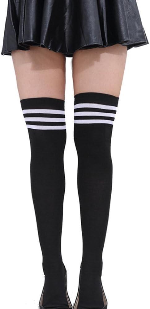 TININNA Frauen M/ädchen Streifen Strumpfhose Socken Knie Schenkel hoch Str/ümpfe Socken Overknee /Überknie Socken blau Wei/ß EINWEG Verpackung