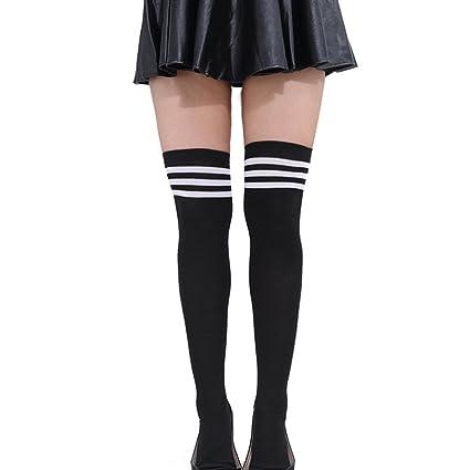 ec588520f HugeStore Women Ladies Stripe Cotton Casual Long Socks Over Knee Socks  Thigh Knee High Stockings Black