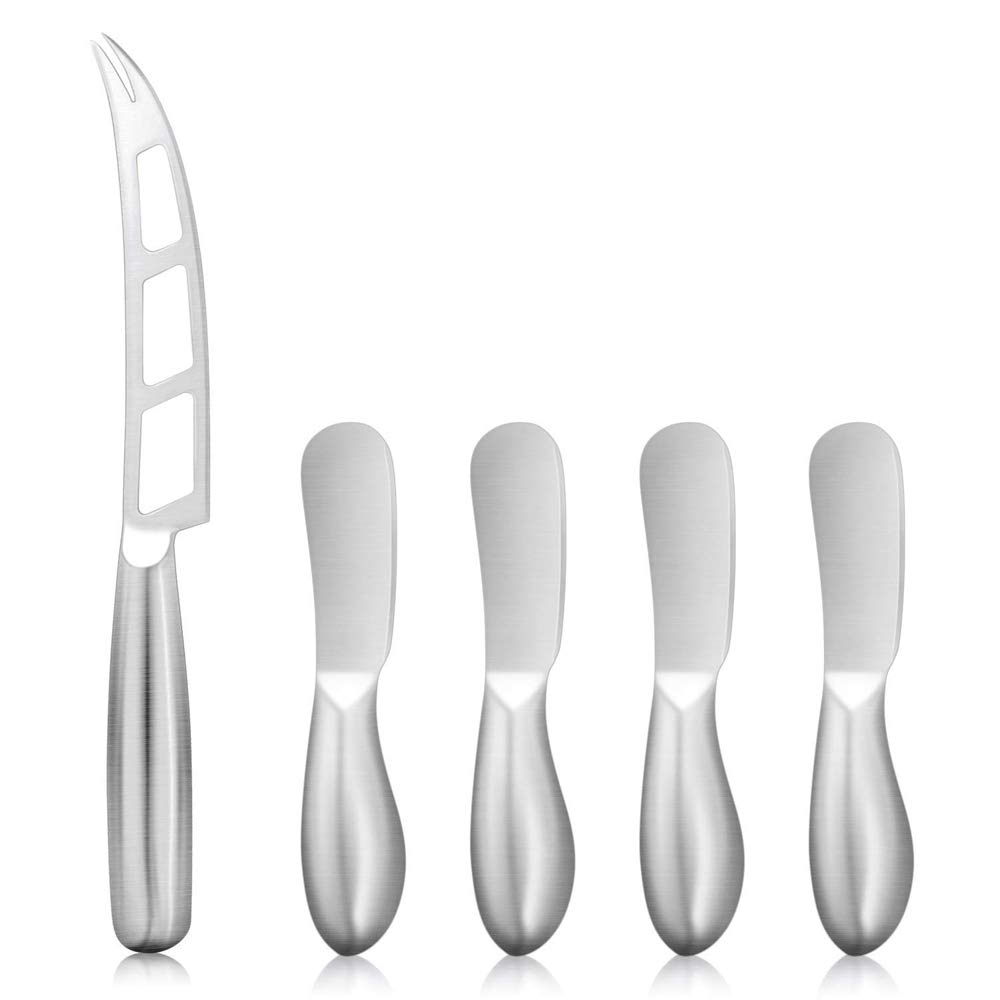 Eagmak Cheese Knives, 5-Piece Cheese Spreader Knife Cheese Knife Set Stainless Steel Spreader Knife Set Butter Spreader Multipurpose Butter Knives