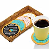 Money coming shop 4Pcs/Lot Round Donut Coasters Drink Bottle Beer Beverage Cup Mats cup mat plastics coaster posavasos