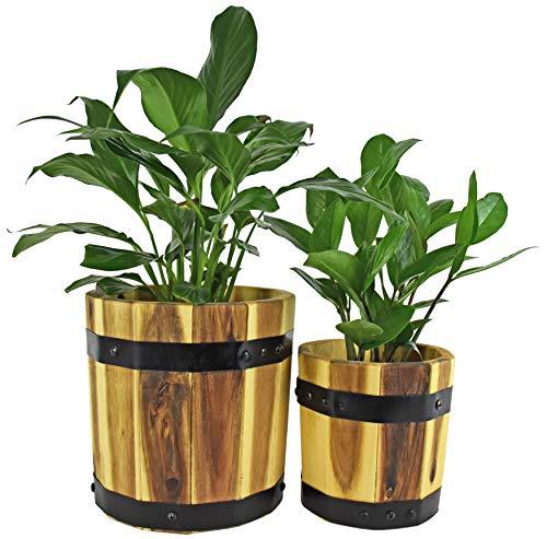 Acacia Wood Round Cylinder Set of 2 Planters