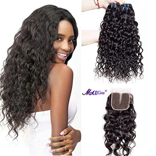 Maxine 9A Brazilian Water Wave 3 Bundles with Closure Unprocessed Virgin Human Hair Bundles with Lace Closure 4x4 Middle Part Can Be Dyed&Bleached (12 14 16 with 10)