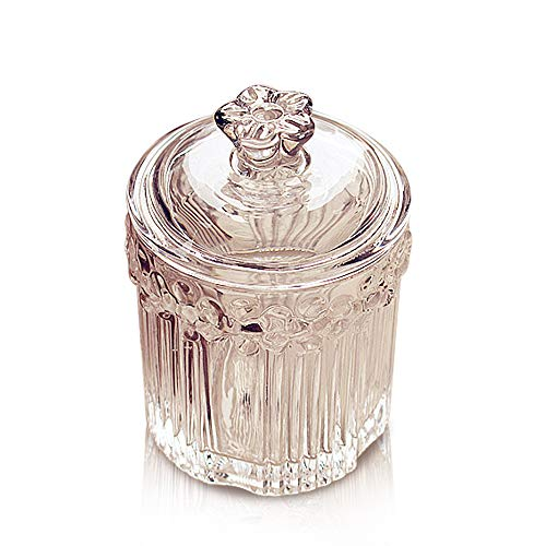 Porlik Crystal Glass Makeup Accessories Jar with Lid - Clear Buffet Jars for Cotton Swab,Toothpick,Cosmetic Pad,Candy,Jewelry - Jar Glass Q-tip Crystal