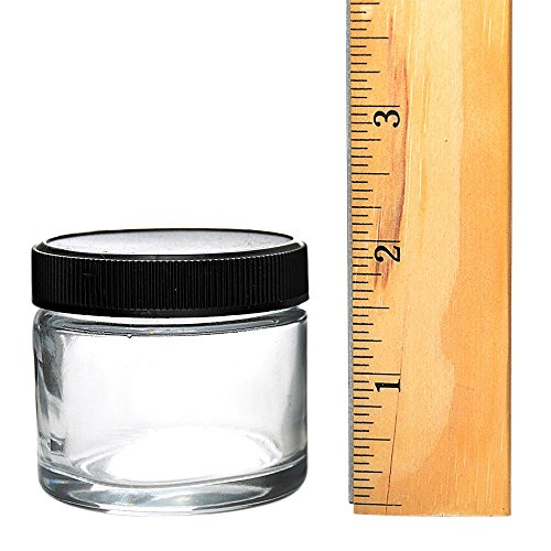 Glass Eighth Jars (6 Pack) - Smell Proof and Air Tight Medical Marijuana Containers/Cannabis Warning Labels Included