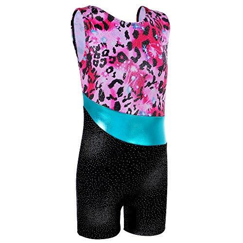 TFJH E Metallic Gymnastic Leotard for Girls Kids Sleeveless Unitard Pink Leopard 120 (Gymnastics Jumpsuit)