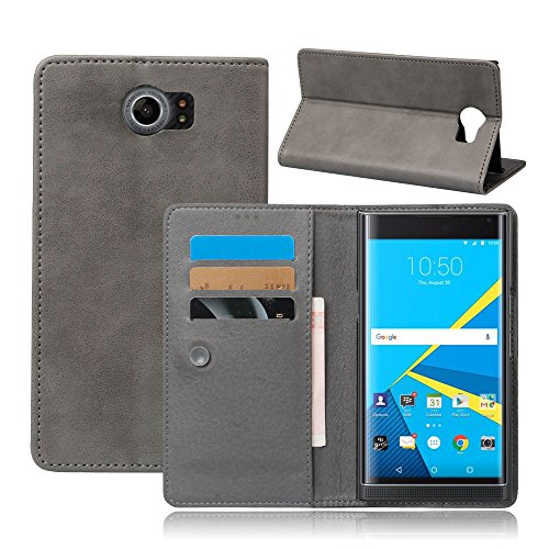 Scheam BlackBerry Priv Case, BlackBerry Priv Cover Thin Flip Cover Case Leather Cases Pouches Phone Case Compatible with BlackBerry Priv (Grey)