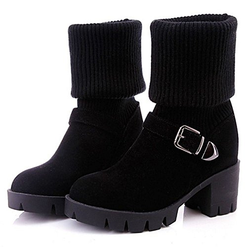 COOLCEPT Women Fashion Knit Boots Pull On Black 105VT