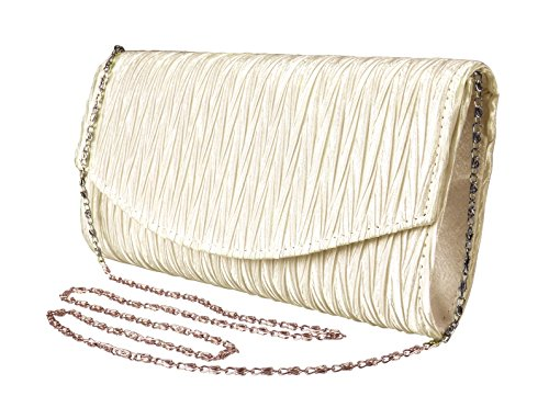 Peach Couture Womens Vintage Satin Pleated Envelope Evening Cocktail Wedding Party Handbag Clutch (Cream) by Peach Couture