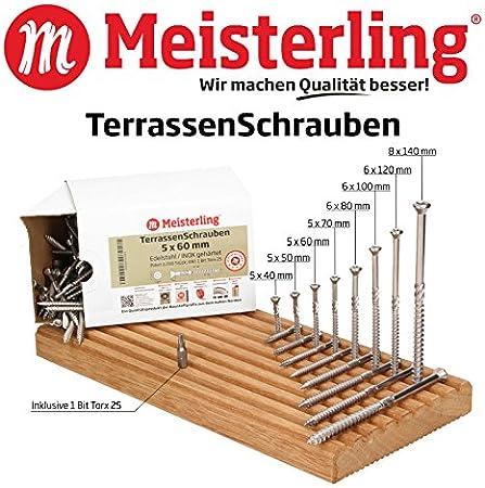 Lot de 50 vis /à bois en acier galvanis/é 8 x 120 mm Filetage partiel Avec t/ête frais/ée Torx TX40