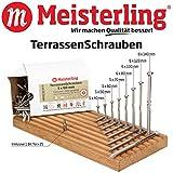 Meisterling® Edelstahl TerrassenSchrauben / TerrassenbauSchrauben / Universalschrauben 5 x 40 / 50 / 60 / 70 / 6 x 80 / 100 / 120 / 8 x 140 mm Edelstahl / INOX gehärtet, CUT-Spitze und Schneidkerbe, Reibeteil und Fräsrippen, 2/3 Grobgewinde, Linsensenkkopf 90° mit Torx-Antrieb TX-25 / TX-40, 1 Bit inklusive pro Paket