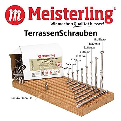Universal Schrauben 5 x 50 mm Edelstahl VA TerrassenSchrauben Inox gehärtet